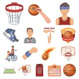 Basketball and attributes cartoon icons in set collection for design.Basketball player and equipment vector symbol stock. Illustration Royalty Free Stock Photography