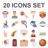 Basketball and attributes cartoon icons in set collection for design.Basketball player and equipment vector symbol stock. Illustration Royalty Free Stock Photos