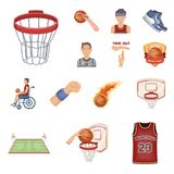Basketball and attributes cartoon icons in set collection for design.Basketball player and equipment vector symbol stock. Illustration Stock Image