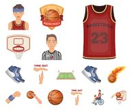 Basketball and attributes cartoon icons in set collection for design.Basketball player and equipment vector symbol stock. Illustration vector illustration