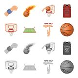 Basketball and attributes cartoon,monochrome icons in set collection for design.Basketball player and equipment vector. Symbol stock  illustration Royalty Free Stock Photo