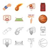 Basketball and attributes cartoon,outline icons in set collection for design.Basketball player and equipment vector. Symbol stock  illustration Royalty Free Stock Photos
