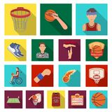 Basketball and attributes flat icons in set collection for design.Basketball player and equipment vector symbol stock. Illustration Royalty Free Stock Photos