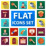 Basketball and attributes flat icons in set collection for design.Basketball player and equipment vector symbol stock. Illustration Stock Images
