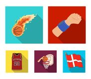 Basketball and attributes flat icons in set collection for design.Basketball player and equipment vector symbol stock. Illustration Stock Photo