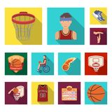 Basketball and attributes flat icons in set collection for design.Basketball player and equipment vector symbol stock. Illustration Royalty Free Stock Image