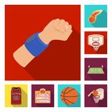 Basketball and attributes flat icons in set collection for design.Basketball player and equipment vector symbol stock. Illustration Royalty Free Stock Images