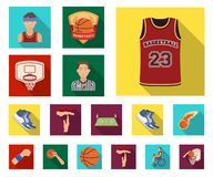 Basketball and attributes flat icons in set collection for design.Basketball player and equipment vector symbol stock. Illustration royalty free illustration