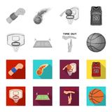 Basketball and attributes monochrome,flat icons in set collection for design.Basketball player and equipment vector. Symbol stock  illustration Royalty Free Stock Photos