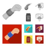 Basketball and attributes monochrome,flat icons in set collection for design.Basketball player and equipment vector. Symbol stock  illustration Stock Image