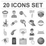 Basketball and attributes monochrome icons in set collection for design.Basketball player and equipment vector symbol. Stock  illustration Stock Images