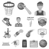 Basketball and attributes monochrome icons in set collection for design.Basketball player and equipment vector symbol. Stock  illustration Royalty Free Stock Image
