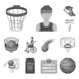 Basketball and attributes monochrome icons in set collection for design.Basketball player and equipment vector symbol. Stock  illustration Stock Photos