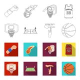Basketball and attributes outline,flet icons in set collection for design.Basketball player and equipment vector symbol. Stock  illustration Royalty Free Stock Image