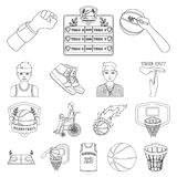 Basketball and attributes outline icons in set collection for design.Basketball player and equipment vector symbol stock. Illustration Stock Photo