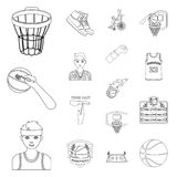 Basketball and attributes outline icons in set collection for design.Basketball player and equipment vector symbol stock. Illustration Stock Images