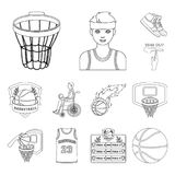 Basketball and attributes outline icons in set collection for design.Basketball player and equipment vector symbol stock. Illustration Stock Photos