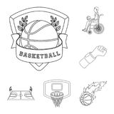 Basketball and attributes outline icons in set collection for design.Basketball player and equipment vector symbol stock. Illustration Royalty Free Stock Photography