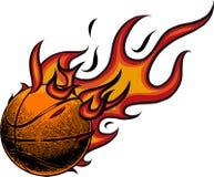 Basketball auf Feuer Abbildung auf weißem Hintergrund lizenzfreie abbildung