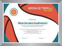 Basketball Award, diploma template design royalty free stock image