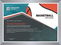 Basketball Award, diploma template design stock photography