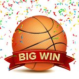 Basketball Award Vector. Red Ribbon. Big Sport Game Win Banner Background. Orange Ball. Confetti Falling. Realistic. Isolated Stock Image
