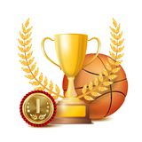 Basketball Award Vector. Sport Banner Background. Orange Ball, Gold Winner Trophy Cup, Golden 1st Place Medal. 3D. Basketball Achievement Award Vector. Sport vector illustration