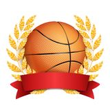 Basketball Award Vector. Sport Banner Background. Orange Ball, Red Ribbon, Laurel Wreath. 3D Realistic Isolated.  Royalty Free Stock Image
