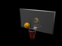 Basketball and backboard Royalty Free Stock Photos
