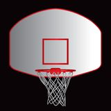 Basketball backboard. A illustration of a basketball backboard and hoop on a black background Royalty Free Stock Photography