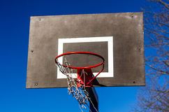 Basketball backboard on blue sky background Royalty Free Stock Image