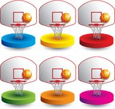 Basketball and backboard on colored discs. Basketball and backboard  with hoop on colored discs Stock Photos