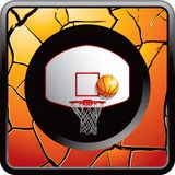 Basketball backboard and hoop on cracked web icon. Orange cracked web button with a basketball going into a hoop with a backboard Stock Images