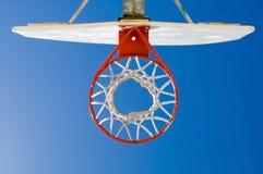 Basketball backboard, hoop and net. Basketball backboard hoop and net against a blue sky royalty free stock images