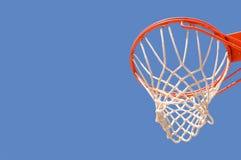 Basketball backboard, hoop and net. Basketball backboard hoop and net against a blue sky Stock Image