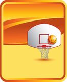 Basketball backboard and hoop on orange background Royalty Free Stock Photo
