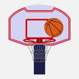 Basketball backboard isolated. On white background with a ball, cartoon style, vector Royalty Free Stock Photo