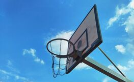 Basketball backboard outdoors