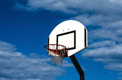 Basketball backboard. Up-view of a basketball hoop Royalty Free Stock Images