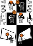 Basketball And Backboard Vector. Basketball Ball And Backboard Silhouette Vector Royalty Free Stock Photography
