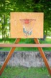 Basketball backboard. Wooden basketball backboard in park royalty free stock images