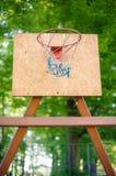 Basketball backboard. Wooden basketball backboard in park Royalty Free Stock Photos