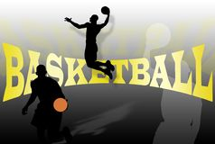 Basketball Background. With players silhouettes and writing Stock Images