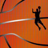 Basketball background. With black color silhouette of a basketball player royalty free illustration