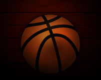 Basketball at the background of the wooden planks Stock Images