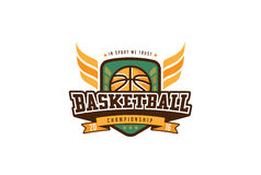 Basketball Badge Logo Design. T-shirt Sport Team Identity Label Stock Photography