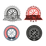 Basketball Badge with Stars Royalty Free Stock Images
