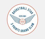 Basketball badge vector colored illustration. Basketball badge is a colored vector illustration about sport and winning competitions royalty free illustration
