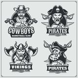 Basketball badges, labels and design elements. Sport club emblems with pirate,cowboy and viking. Vector Royalty Free Stock Image