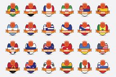 Basketball Badges. Badges of National Flag of competitors of Fiba World Cup, Spain 2014 royalty free illustration